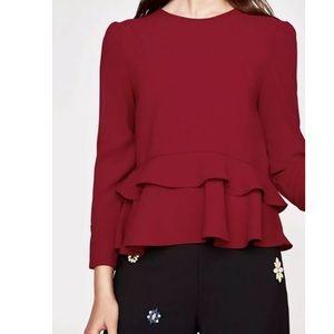 Zara Burgundy Ruffles blouse Sz L